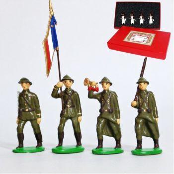 Infanterie de ligne, casque adrian, tenue kaki (1939-1945), coffret de 4 figurin