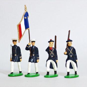 Fusiliers Marins En Blanc, ensemble de 4 figurines