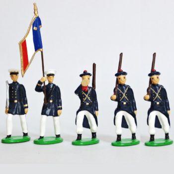 Fusiliers Marins En Blanc, ensemble de 5 figurines