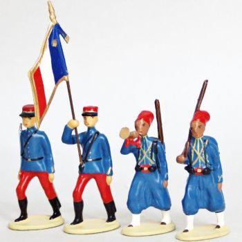 Tirailleurs Algeriens (IIIe Republique), ensemble de 4 figurines
