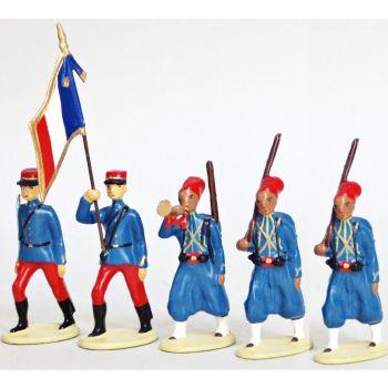 Tirailleurs Algeriens (IIIe Republique), ensemble de 5 figurines