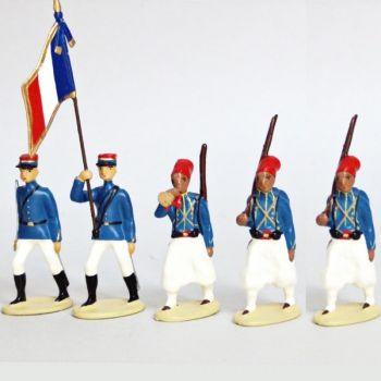 Tirailleurs Algeriens, Tenue D'Ete (IIIe Republique), ensemble de 5 figurines
