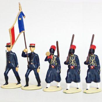Tirailleurs Senegalais (IIIe République), ensemble de 5 figurines