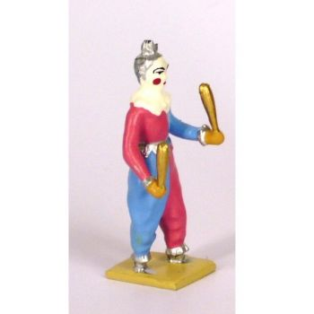 Clown jongleur, tenue rose et bleu