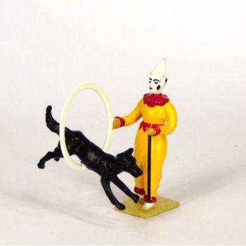 clown au cerceau, dresseur de chien