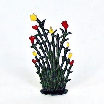 Petit roseaux fleurs rouge jaune (h. 4 cm)