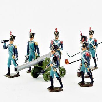 Canonniers garde-côtes, ensemble de 7 artilleurs + canon