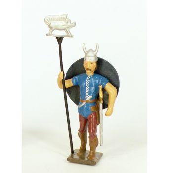 gaulois casque à cornes, avec emblème et bouclier dans le dos