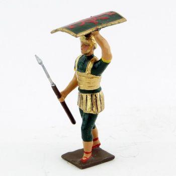 romain de la tortue, avec bouclier en l'air et pilum en avant