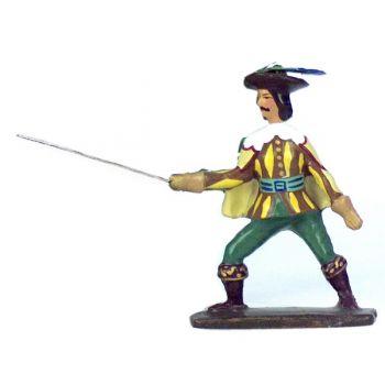mousquetaire en duel, avec cape beige