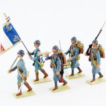 ensemble de 5 figurines de l'Infanterie de ligne Bleu Horizon (collection LG)