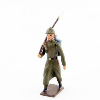 fantassin de l'infanterie de ligne en capote kaki (1921-1945)