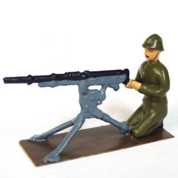 mitrailleur en tenue kaki (1921-1945) + mitrailleuse Hotchkiss
