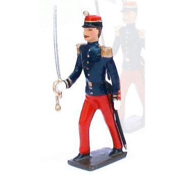 officier de l'infanterie de ligne en tunique, pantalon garance