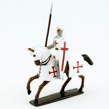 Templier à cheval, casque plat, lance et bouclier, sur cheval alezan