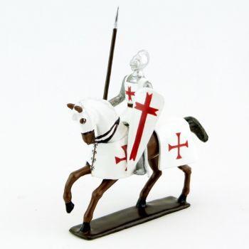 Templier, casque bassinet, lance et bouclier, sur cheval alezan