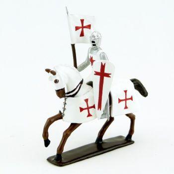 Templier à cheval, grand heaume, porte-banière sur cheval alezan