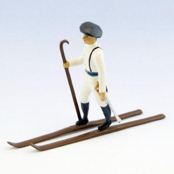 officier des chasseurs alpins en tenue d'hiver (blanc) à skis