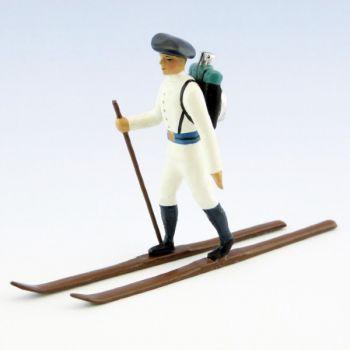 fantassin des chasseurs alpins en tenue d'hiver (blanc) à skis