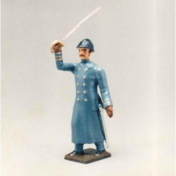 officier de l'infanterie de ligne en capote b.h. à l'assaut