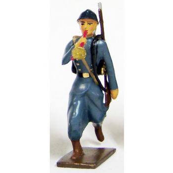 clairon de l'infanterie de ligne en capote b.h. à l'assaut