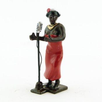 chanteuse noire avec micro (diorama le Jazz) (JZ08)
