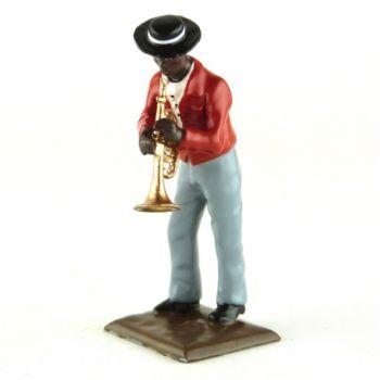 trompettiste, gilet rouge, avec canotier (diorama le Jazz) (JZ03 Bis)