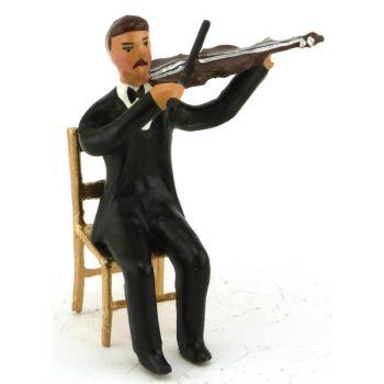 musicien assis jouant du violon