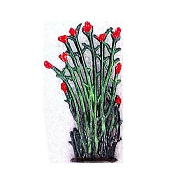 Petit roseaux fleurs rouges  (h. 4 cm)