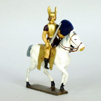 cavalier gaulois, casque ailé, avec glaive et bouclier