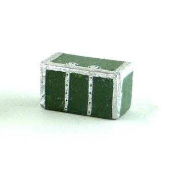 malle, petit modèle,verte, passementeries argent