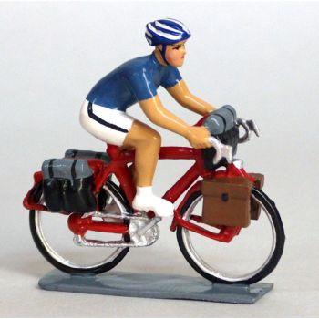 Cyclotouriste (Cyclo-randonneur), t-shirt bleu