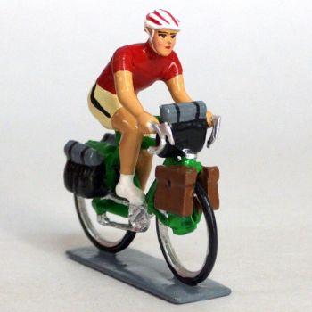 Cyclotouriste (Cyclo-randonneur), t-shirt rouge