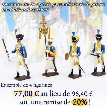lot de 4 musiciens du 3e rgt de grenadiers (1 Tambour-Major, 1 Chapeau chinois,
