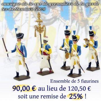 lot de 5 musiciens du 3e rgt de grenadiers (1 Tambour-Major, 1 Chapeau-chinois,