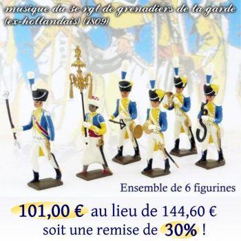 lot de 6 musiciens du 3e rgt de grenadiers (1 Tambour Major, 1 Chapeau chinois,