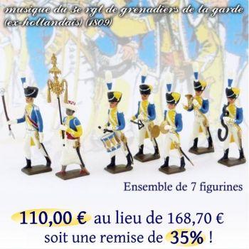 lot de 7 musiciens du 3e rgt de grenadiers (1 Tambour Major, 1 Chapeau chinois,