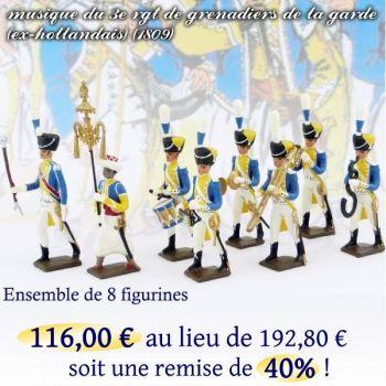 lot de 8 musiciens du 3e rgt de grenadiers (Tambour Major, Chapeau chinois, Tamb