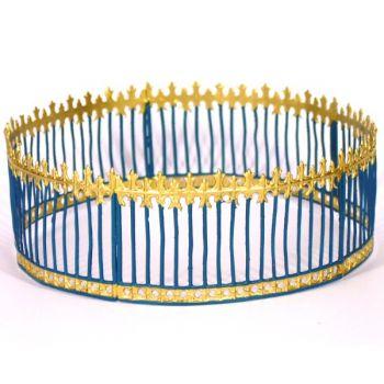 ensemble de 5 grilles du Cirque soudées (bleu  et  or) (cage aux fauves) (Ø 14 cm)