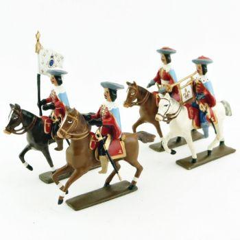 Mousquetaire louis XIII à cheval - ensemble de 4 cavaliers