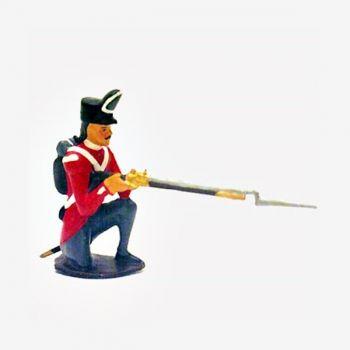 fantassin du 32nd (cornwall) regiment a genou, fusil en joue