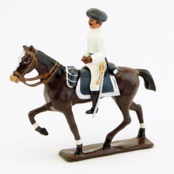 officier à cheval des chasseurs alpins blancs