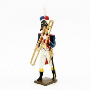 sacqueboute (trombone à coulisse) de la musique des grenadiers (plastron rouge)