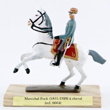 Maréchal Foch à cheval, sur socle bois