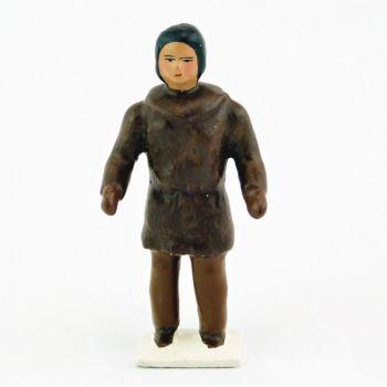 esquimau, tête nue, veste marron