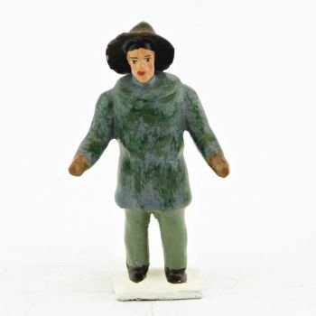 explorateur avec manteau de fourrure et suroît
