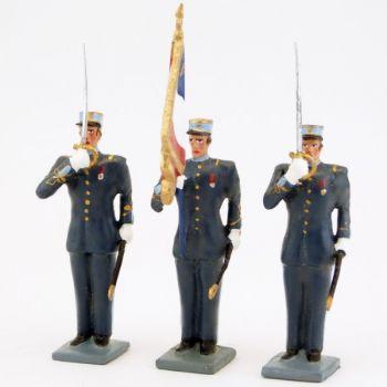 garde au drapeau de l'EMIA (École militaire interarmes), ens. de 3 personnages
