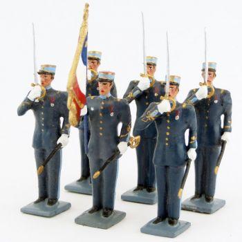 garde au drapeau de l'EMIA (École militaire interarmes), ens. de 6 personnages