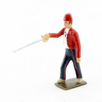 Révolutionnaire, gilet rouge, avec épée en avant