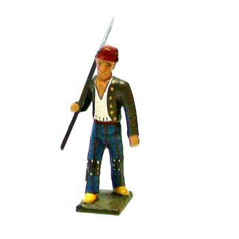 révolutionnaire, gilet marron, lance sur l'épaule